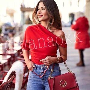 Zara red assymetric top